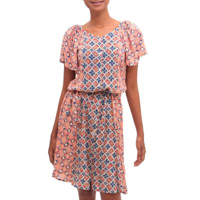 Chili and Azure Printed Rayon A-Line Dress from Bali