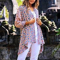 Rayon kimono, 'Kelud Crisscross' - Chili and Azure Printed Rayon Kimono from Bali
