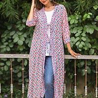 Rayon long kimono, 'Kelud Crisscross' - Chili and Azure Printed Rayon Long Kimono from Bali