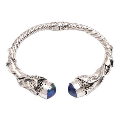 Culture pearl cuff bracelet, 'Songket Glow in Blue' - Cultural Blue Cultured Pearl Cuff Bracelet from Bali