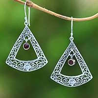 Garnet dangle earrings, 'Sunrise Gate' - Floral Garnet and Sterling Silver Dangle Earrings from Bali