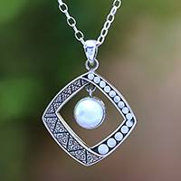Cultured pearl pendant necklace, 'Moon Gate' - White Cultured Pearl Pendant Necklace from Bali
