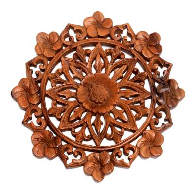 Wood relief panel, 'Lotus and Plumeria' - Lotus and Plumeria Blooms Hand Carved Wood Relief Wall Panel