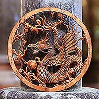Wood wall relief panel, 'Kinabalu Dragon' - Kinabalu Dragon Hand Carved Wood Relief Wall Panel from Bali