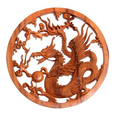 Kinabalu Dragon Hand Carved Wood Relief Wall Panel from Bali