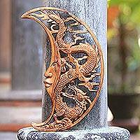 Wood relief panel, 'Crescent Dragon' - Crescent Moon Dragon Hand Carved Wood Relief Wall Panel