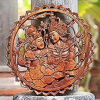 Wood relief panel, 'Loving Rama and Sita' - Suar Wood Rama and Sita Relief Panel from Indonesia