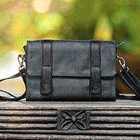 Leather sling, 'Prambanan Elegance' - Dark Ivy and Charcoal Leather Sling from Java