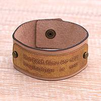 Brass and leather wristband bracelet, 'The Best Time' - Inspirational Brass and Leather Wristband Bracelet from Java