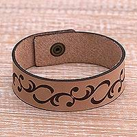 Leather wristband bracelet, 'Magic Strands' - Strand Motif Leather Wristband Bracelet from Java