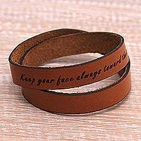 Leather wrap bracelet, 'Toward the Sun' - Inspirational Brown Leather Wrap Bracelet from Java