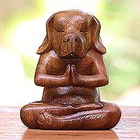 Wood statuette, 'Yoga Beagle' - Yoga Meditation Brown Beagle Hand Carved Wood Statuette