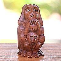 Wood Statuette, 'Three Monkey Sages in Brown' - Three Wise Monkeys Brown Hand Carved Wood Statuette