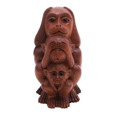 Three Wise Monkeys Brown Hand Carved Wood Statuette