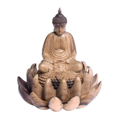 Wood sculpture, 'Buddha on Lotus' - Wood Sculpture of Buddha on a Lotus Flower from Indonesia