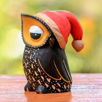 Wood statuette, 'Santa Owl' - Hand Carved and Painted Santa Owl Statuette
