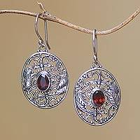 Garnet dangle earrings, 'Oval Dragonfly World' - Dragonfly-Themed Garnet Dangle Earrings from Bali