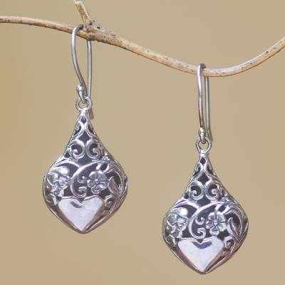 Sterling silver dangle earrings, 'Heart Flower Garden' - Heart and Flower Pattern Sterling Silver Dangle Earrings