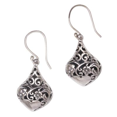 Sterling silver dangle earrings, 'Heart Flower Garden' - Heart and Flower Pattern Sterling Silver Dangle Earrings