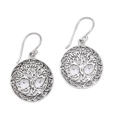 Sterling silver dangle earrings, 'Sacred Plumeria Tree' - Tree-Themed Sterling Silver Dangle Earrings from Bali