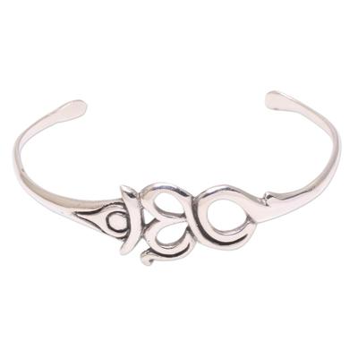Sterling silver cuff bracelet, 'Pure Omkara' - Om Pattern Sterling Silver Cuff Bracelet Crafted in Bali