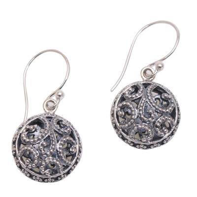 Sterling silver dangle earrings, 'Dewy Disc' - Dot Pattern Openwork Sterling Silver Dangle Earrings