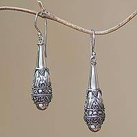 Sterling silver dangle earrings, 'Life Giving' - Handcrafted Sterling Silver Dangle Earrings from Bali