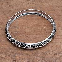Sterling silver bangle bracelet, 'Petite Rope' - Handcrafted Sterling Silver Bangle Bracelet from Bali
