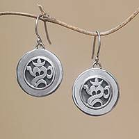 Sterling silver dangle earrings, 'Word of Omkara' - Circular Om Sterling Silver Dangle Earrings from Bali