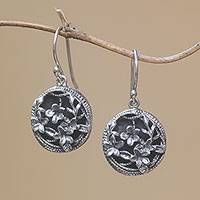 Sterling silver dangle earrings, 'Private Garden' - Frangipani Flower Sterling Silver Dangle Earrings from Bali