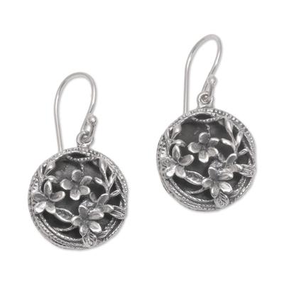 Sterling silver dangle earrings, 'Private Garden' - Frangipani Flower Sterling Silver Dangle Earrings from Bali