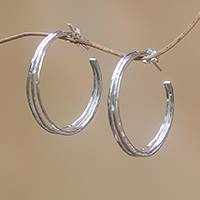 Sterling silver half-hoop earrings, 'Majestic Curve' - Sterling Silver Half-Hoop Earrings Crafted in Bali