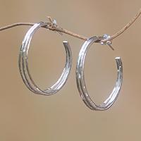 Sterling silver half-hoop earrings, 'Majestic Curve'