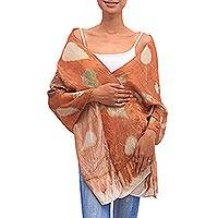 Silk shawl, 'Earth Romance' - Leaf Motif Silk Shawl in Spice from Java