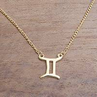 Featured review for Gold plated sterling silver pendant necklace, Golden Gemini