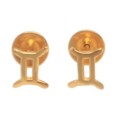 18k Gold Plated Sterling Silver Gemini Stud Earrings