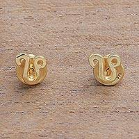 Gold plated sterling silver stud earrings, 'Golden Leo' - 18k Gold Plated Sterling Silver Leo Stud Earrings