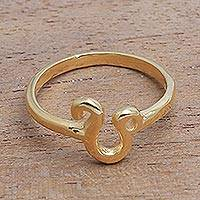 Gold plated sterling silver cocktail ring, 'Golden Leo' - 18k Gold Plated Sterling Silver Leo Cocktail Ring