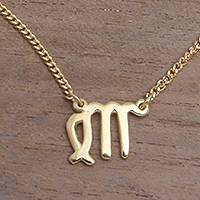 Gold plated sterling silver pendant necklace, 'Golden Virgo' - 18k Gold Plated Sterling Silver Virgo Pendant Necklace