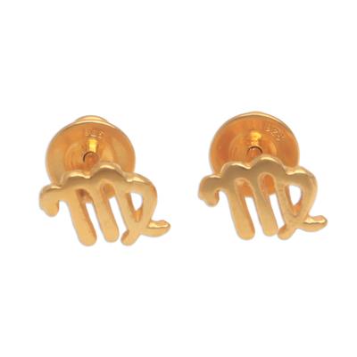 18k Gold Plated Sterling Silver Virgo Stud Earrings