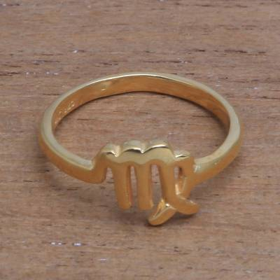 Gold plated sterling silver band ring, 'Golden Virgo' - 18k Gold Plated Sterling Silver Virgo Band Ring