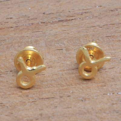 Gold plated sterling silver stud earrings, 'Golden Taurus' - 18k Gold Plated Sterling Silver Taurus Stud Earrings