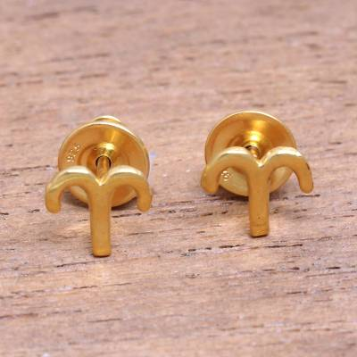 Gold plated sterling silver stud earrings, 'Golden Aries' - 18k Gold Plated Sterling Silver Aries Stud Earrings