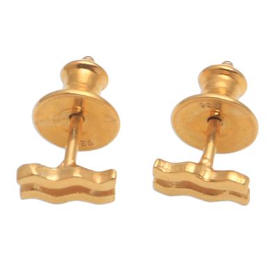 18k Gold Plated Sterling Silver Aquarius Stud Earrings