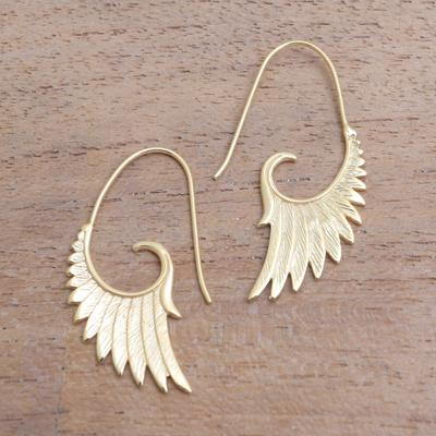 18k Gold Plated Sterling Silver Wing Half Hoop Earrings Wings At Dawn
