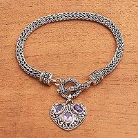Amethyst chain bracelet, 'Three Times the Love' - Heart-Shaped Amethyst Chain Bracelet from Bali