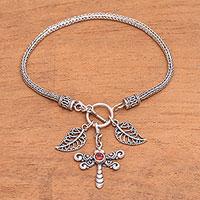 Garnet charm bracelet, 'Dragonfly Dawn' - Garnet Dragonfly Charm Bracelet from Bali