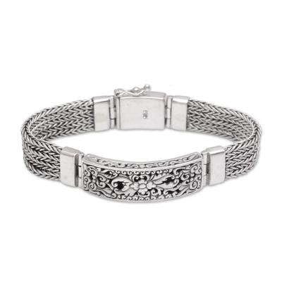 Floral Sterling Silver Pendant Bracelet from Bali