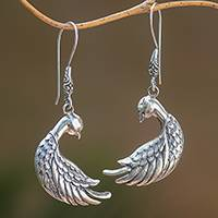 Sterling silver dangle earrings, 'Bali Peacocks' - Sterling Silver Peacock Dangle Earrings from Bali
