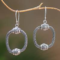 Sterling silver dangle earrings, 'Naga Lanterns' - Sterling Silver Naga Chain Dangle Earrings from Bali